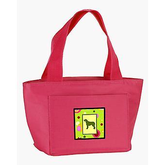 Carolines Schätze CK1135PK-8808 lindgrün Punkte Irish Wolfhound-Lunch-Bag