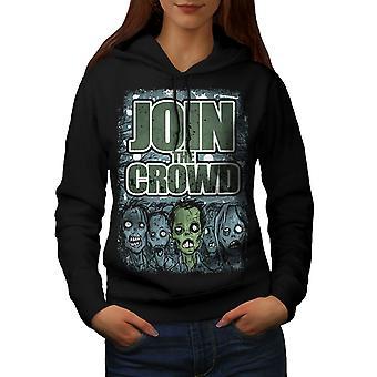 Join The Crowd Women BlackHoodie   Wellcoda