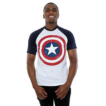 Marvel Men's Captain America Distressed Shield Baseball T-Shirt