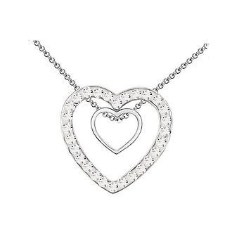 Kahden hengen hopea kaksi sydäntä riipus Crystal Clear kivet kaulakoru