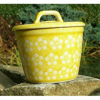 Wax pot with lid, ↑14 cm, Ø15 cm, yellow, Bolesławiec BSN J-973