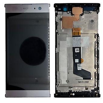 Sony display LCD complete unit with frame for Xperia XA2 silver spare parts