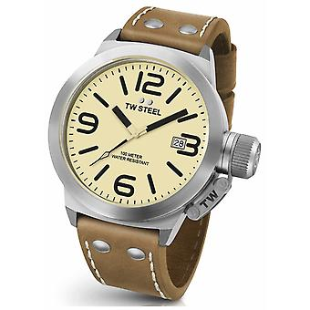 TW Steel Mens kantine 45mm bruin lederen riem CS11 Watch