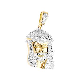 Premium Bling - 925 sterling silver Jesus mini pendant-gold