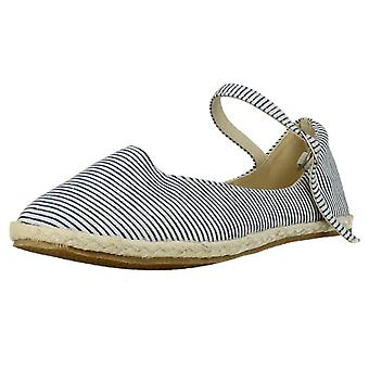 Girls Spot On Flat Striped Espadrille with Ankle Strap