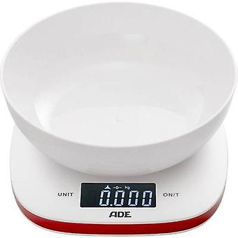 ADE KE 1412 Amelie Kitchen scales digital, + weighing tray Weight range=5 kg White-red