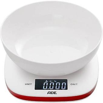 ADE KE 1412 Amelie Küchenwaage digital, + Wiegefach Gewichtsbereich=5 kg Weiß, Rot