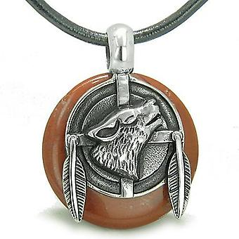 Amulet Howling Wolf fjer Medallion åndelige beføjelser rød Jasper heldig Donut vedhæng halskæde