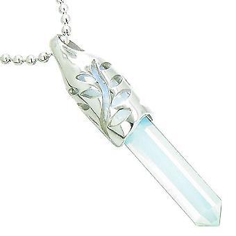 Positiv energi magiske beføjelser blad Amulet krystal punkt heldige charme Opalite vedhæng halskæde