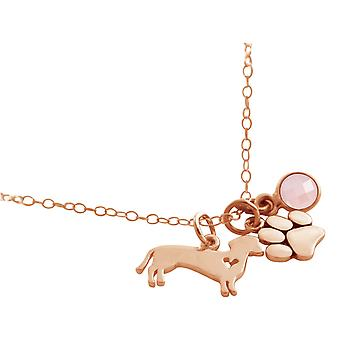 GEMSHINE necklace dachshund, paw with rose quartz. 925 silver, gold plated, rose