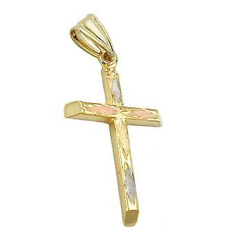 tre kors hänge guld tricolor 375 hänge, kors, 9 KT guld