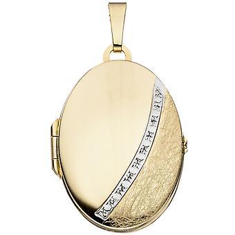 Helado de hielo parte de medallón 333/g oro medallón parcialmente rodio oro medallones