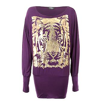 Ladies Long Sleeve Casual Gold Foil Tiger Print Batwing Long Baggy Womens Top