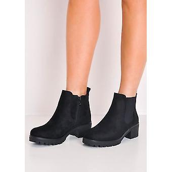 Cleated Platform elastisch suède Chelsea Ankle Boots zwart