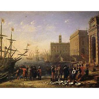 View of a Port with the Capitol, Claude Lorrain, 56x72cm