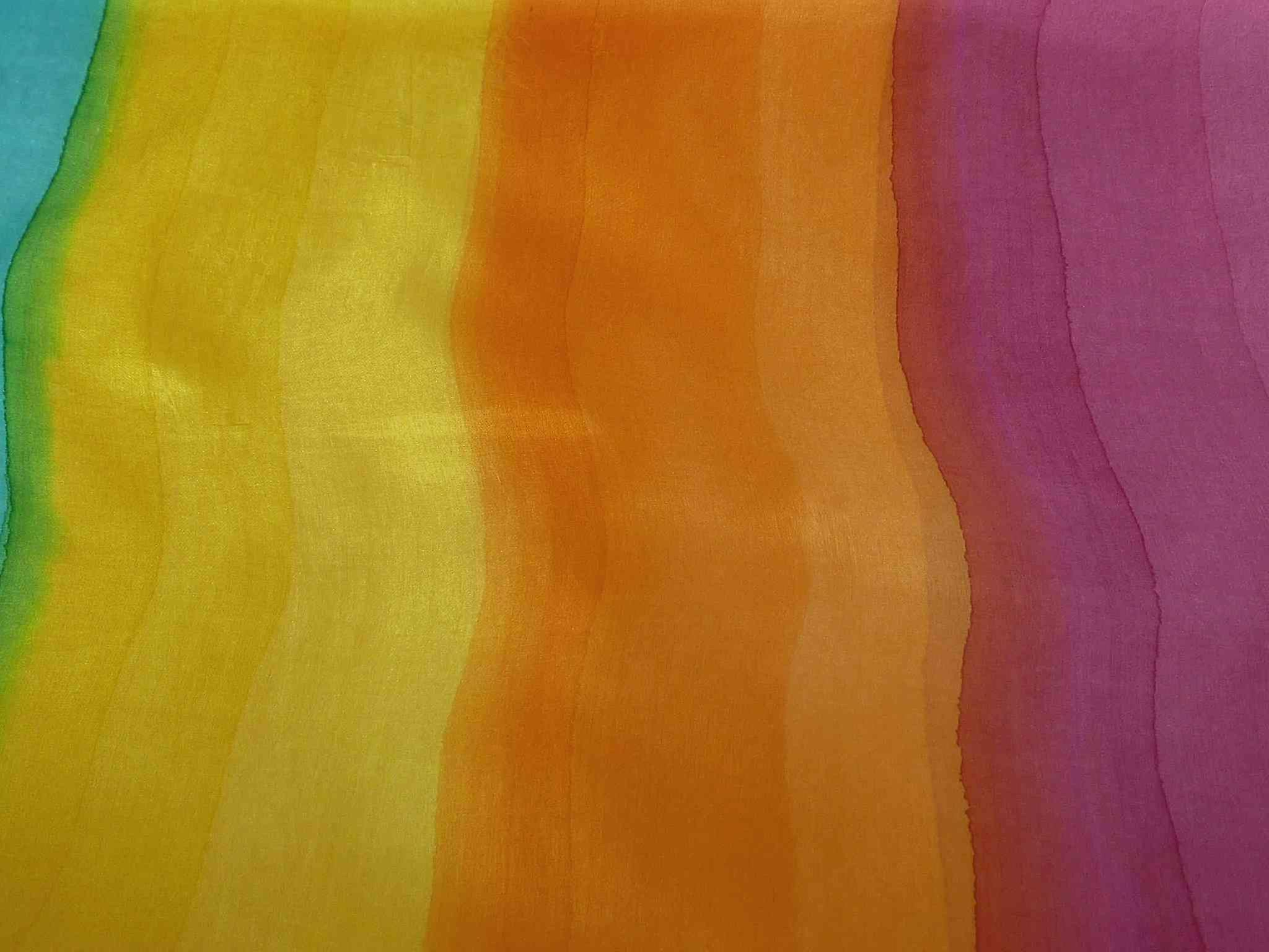 Mulberry Silk Hand Dyed Long Scarf Patel Rainbow Palette from Pashmina & Silk