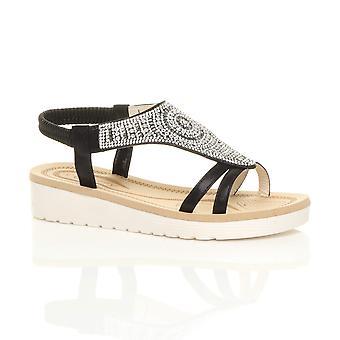 Ajvani womens low wedge heel flatform diamante t-bar slingback sandals