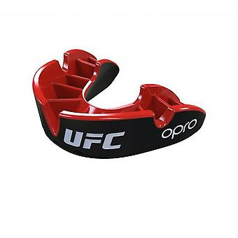 Opro UFC argento bocca guardia nero/rosso