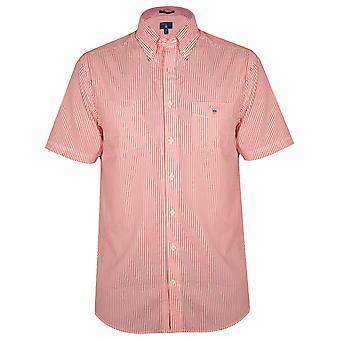 GANT Coral Striped Regular Short-Sleeve Shirt