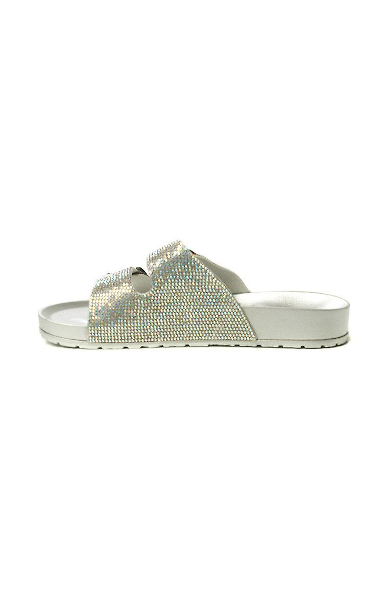 IKRUSH Womens Marti Diamante Embellished Buckle Sliders