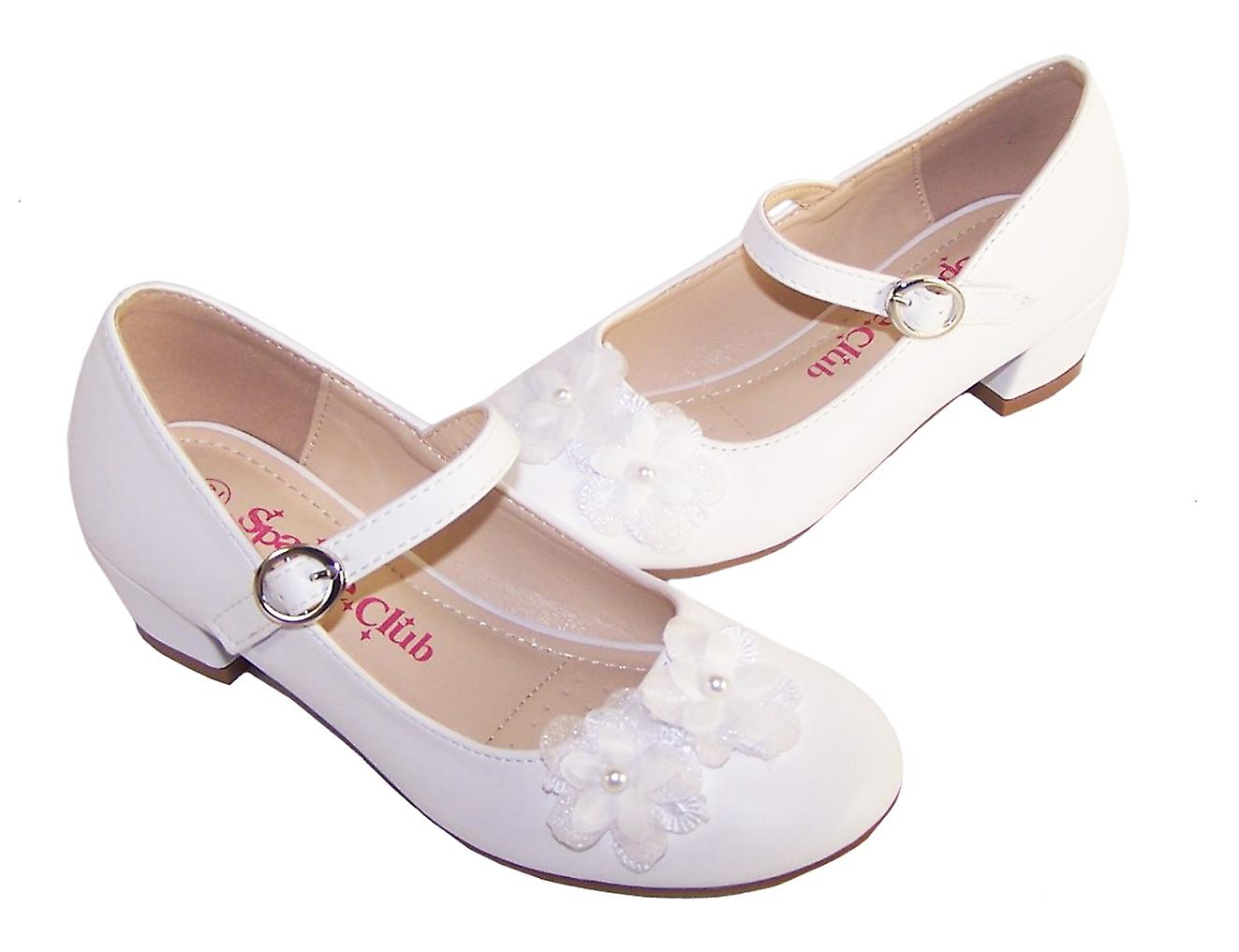 Girls white low heeled bridesmaid shoes