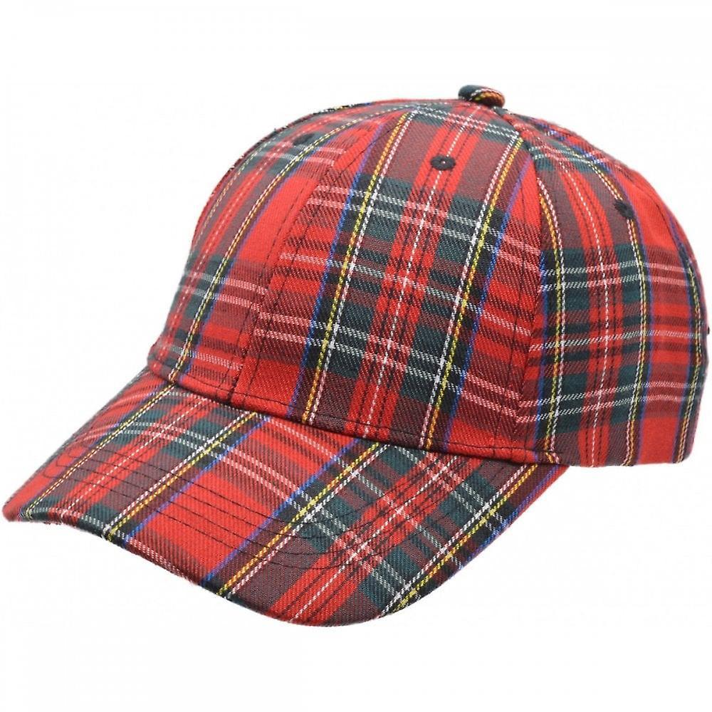 Union Jack Wear Red Tartan Baseball Cap. Scotland Baseball Cap Adult Size