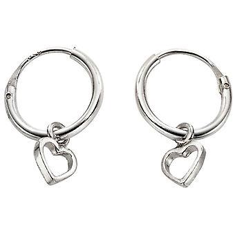 Beginnings Heart Sleeper Hoop Earrings - Silver