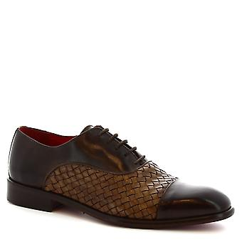 Leonardo mannen schoenen handgemaakt geregen op Oxford donker bruin geweven kalfsleder