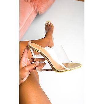 IKRUSH Womens Pollie Perspex Wedge Mule Heels