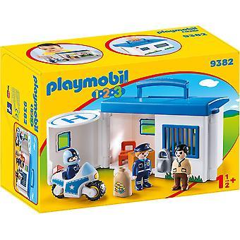 Playmobil 9382 1.2.3 ta längs polis Station låsbara fängelse celler
