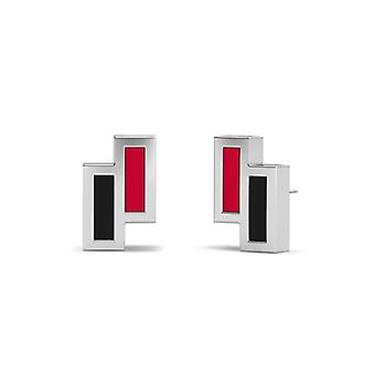 Northern Illinois University Sterling Silver Asymmetric Enamel Stud Earrings In Red and Black