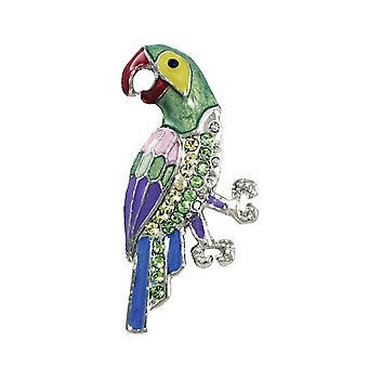 Eterno Carnaval de colección Multi color esmalte Papagayo de cristal broche