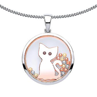 Jewelco London Ladies Rose Gold-Plated Silver noir CZ Floating Bead Kitty Cat Pendant Necklace 18 pouces