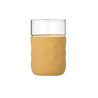 Honeycomb Anti-skid Glass with Silicone Sleeve 250ml in Khaki