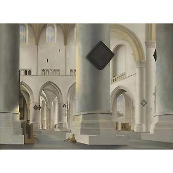 THe Interior der Grote Kerk, Haarlem, Pieter Saenredam, 50x36cm