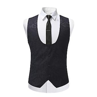 YANGFAN Mens Single Breasted Jacquard Suit Vest Button Down Prom Formal Waistcoat