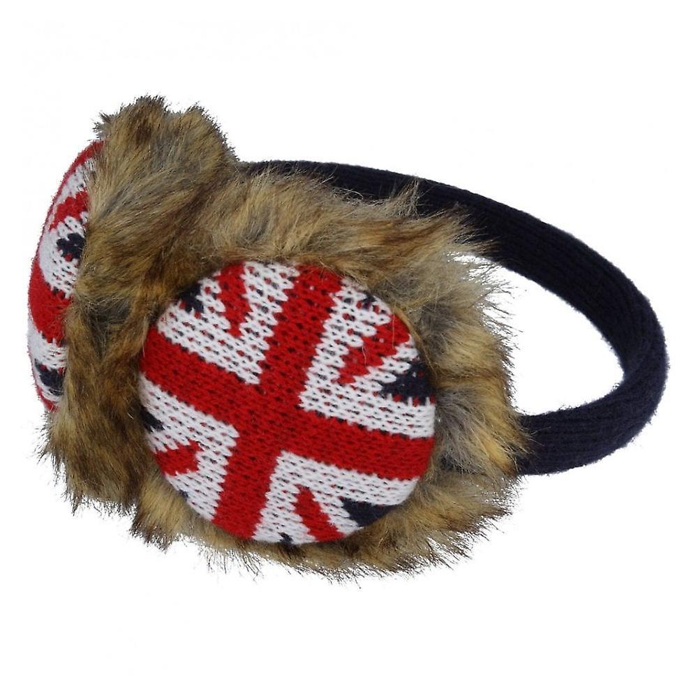 Union Jack Wear Union Jack Furry Ear Muffs - Brown Fun Fur