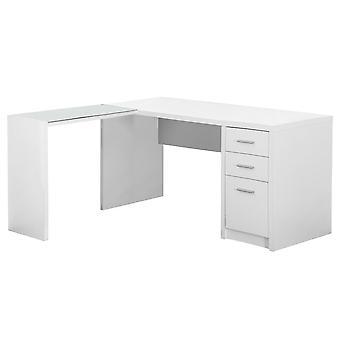 Computer desk - white corner with tempered glass