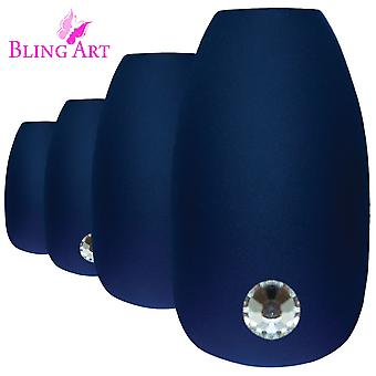 False nails by bling art blue matte ballerina coffin 24 fake long acrylic tips
