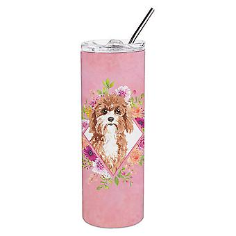 Cavapoo Pink Flowers Double Walled Stainless Steel 20 oz Skinny Tumbler