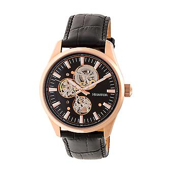 Heritor Automatic Stanley Semi-Skeleton Leather-Band Watch - Rose Gold/Black
