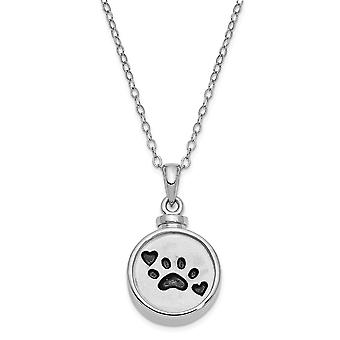 925 Sterling Silver Gift pouch Spring Ring Polished back Rhodium plaqué Enameled Dog Pet Paw Print Ash Holder 18inch