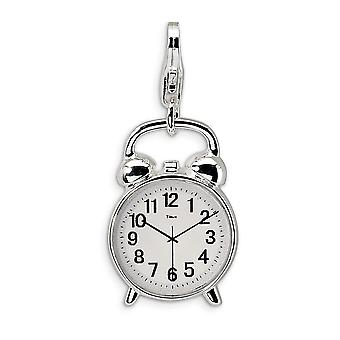 925 Sterling Silver Solid Enamel Polished Rhodium plated Fancy Lobster Closure 3 D Alarm Clock With Lobster Clasp Charm