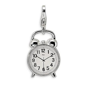 925 סטרלינג סילבר אמייל מלוטש בציפוי רודיום לובסטר 3 D שעון מעורר עם לובסטר הקסם אבזם