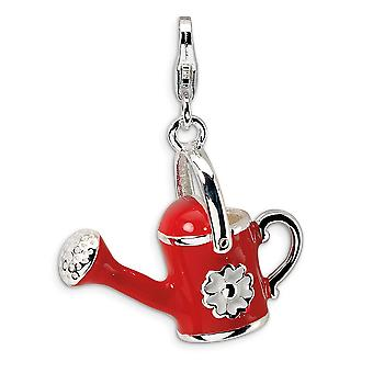 925 Sterling Silver Rhodium plated Fancy Lobster Closure 3 D Enameled Red Watering Can With Lobster Clasp Charm Pendant