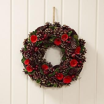 Widdop Gifts Red Pinecone & Rose Wreath