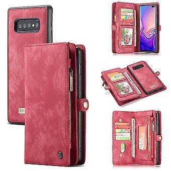 Téléphone cellulaire étui pour Samsung Galaxy S10 G973F CaseMe bourse de couverture + affaire couverture art cuir rouge