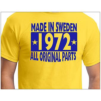 T-shirt jaune made in Sweden 1972 ALL Original Parts