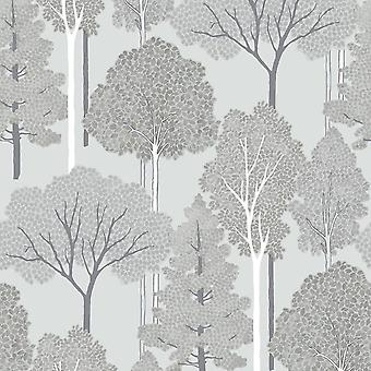 Ellwood Trees Silver Wallpaper Woodland Natural Grey Forest Glitter Arthouse
