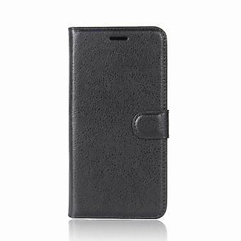 Lenovo Moto E4 plus-taske med tegnebog-sort